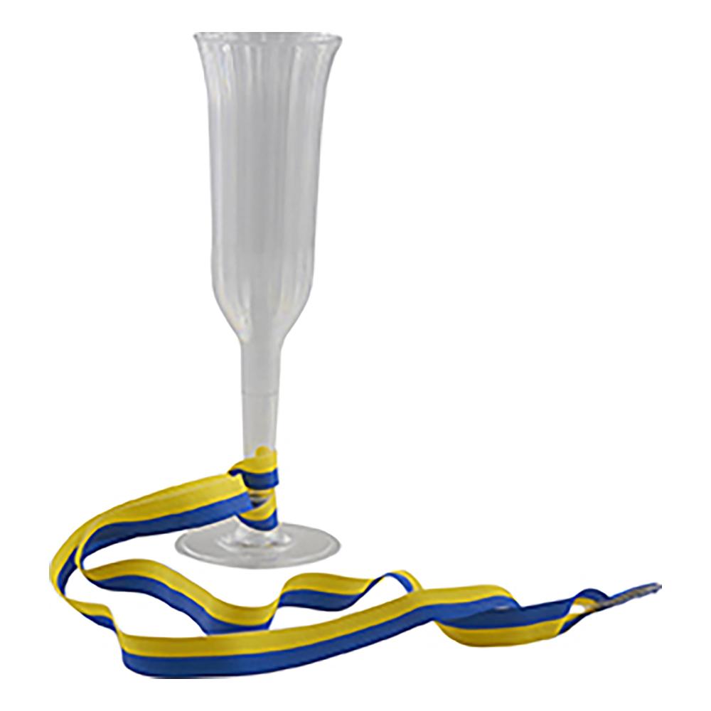 Champagneglas med Blå/Gult-snöre - 1-pack