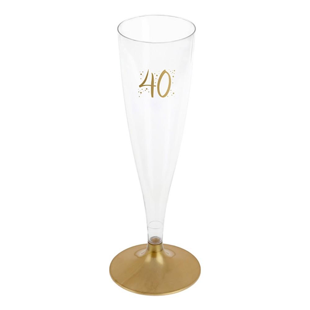 Champagneglas med Siffra - Siffra 40 | Hem//Festartiklar//Dukning//Engångsmuggar & Glas | Partyoutlet