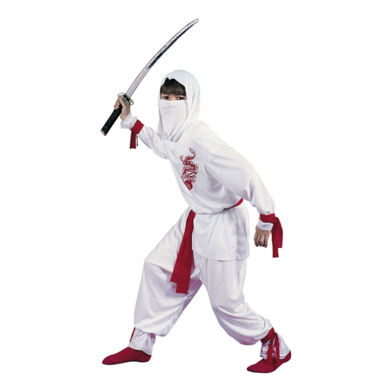 Utklädningsdräkter - Vit Ninja Barn Maskeraddräkt - Small
