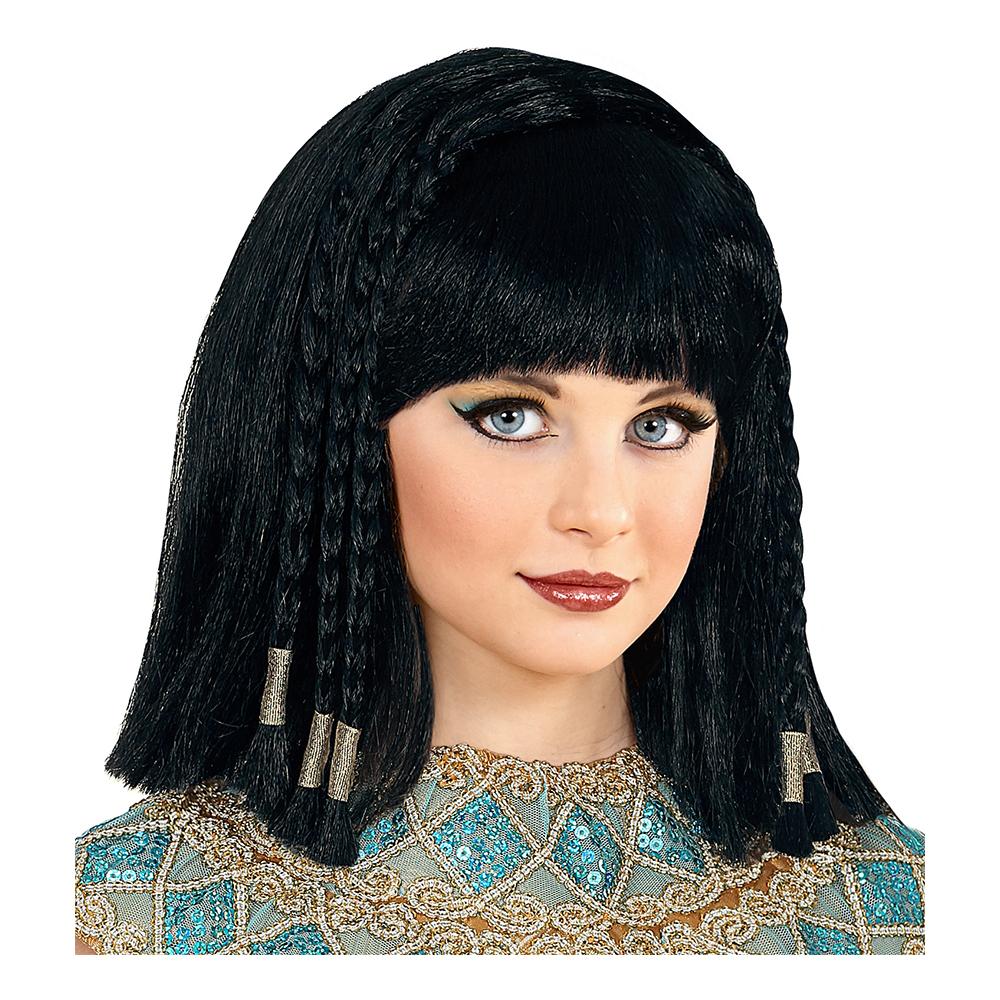 Cleopatra Svart Barnperuk med Flätor