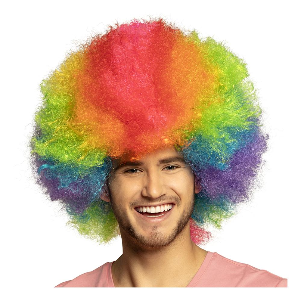 Clownperuk Regnbågsfärgad Deluxe - One size