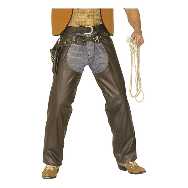 Cowboy Chaps Bruna i Läderlook - Medium/Large