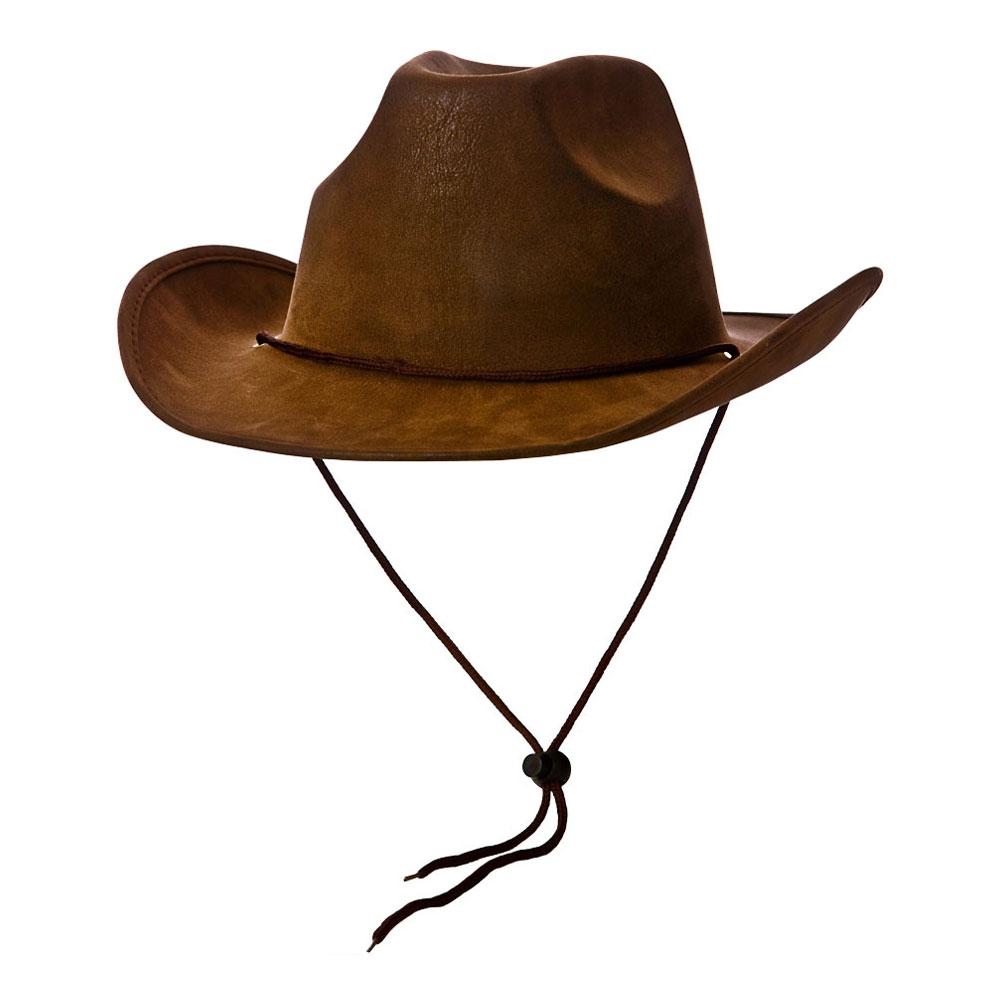 Cowboyhatt Brun med Snöre - One size