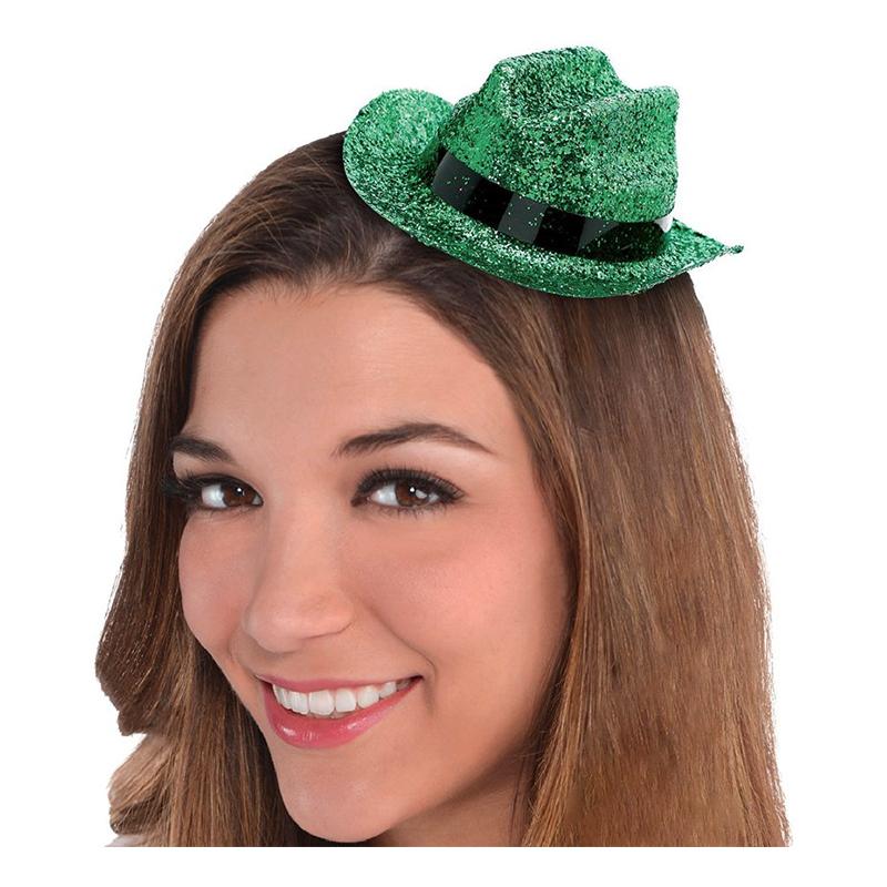 Cowboyhatt Mini Grön Glitter - One size