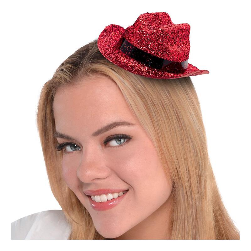 Cowboyhatt Mini Röd Glitter - One size