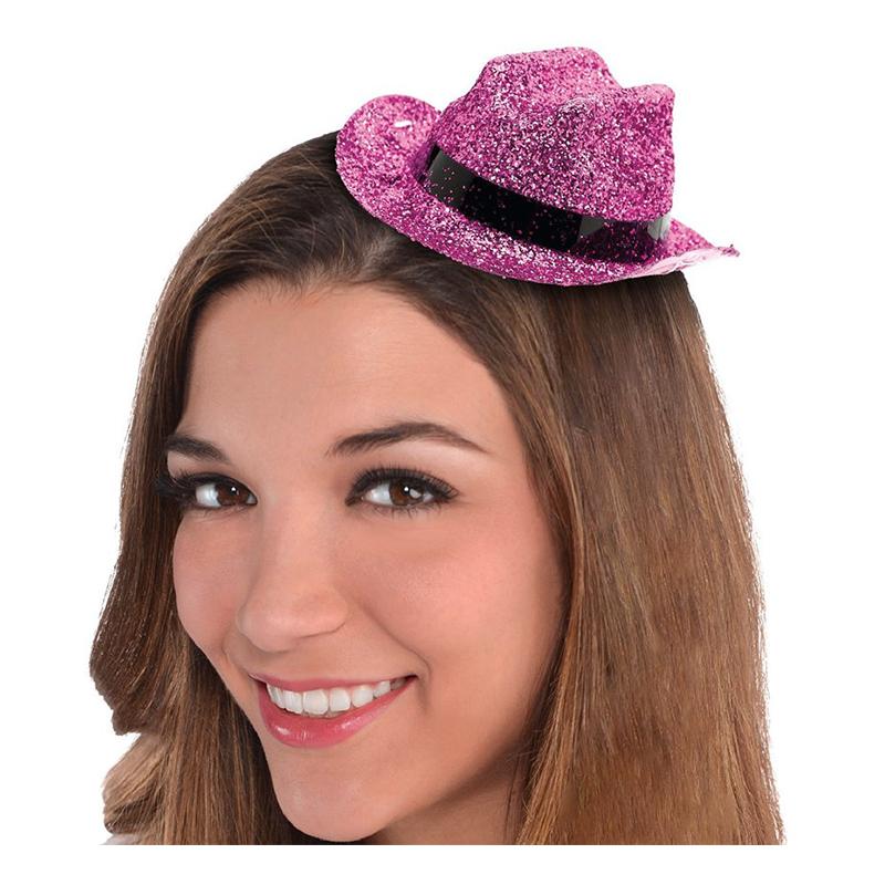 Cowboyhatt Mini Rosa Glitter - One size