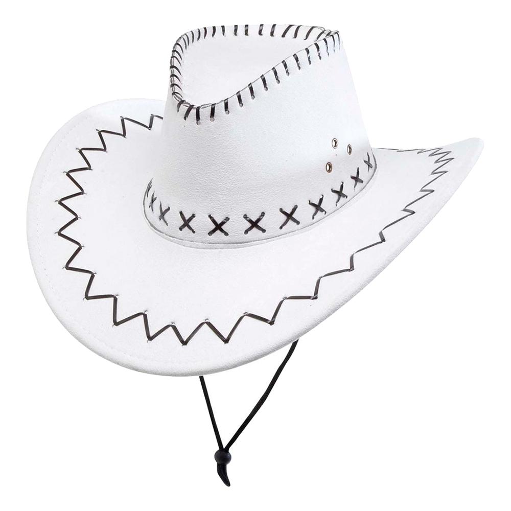 Cowboyhatt Vit med Stygn