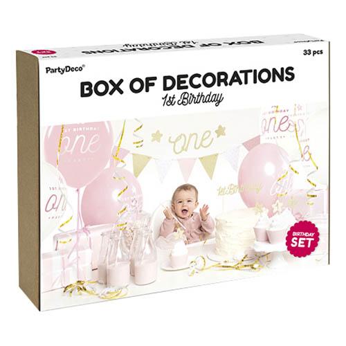 Dekorationspaket 1st Birthday Guld - 33 delar
