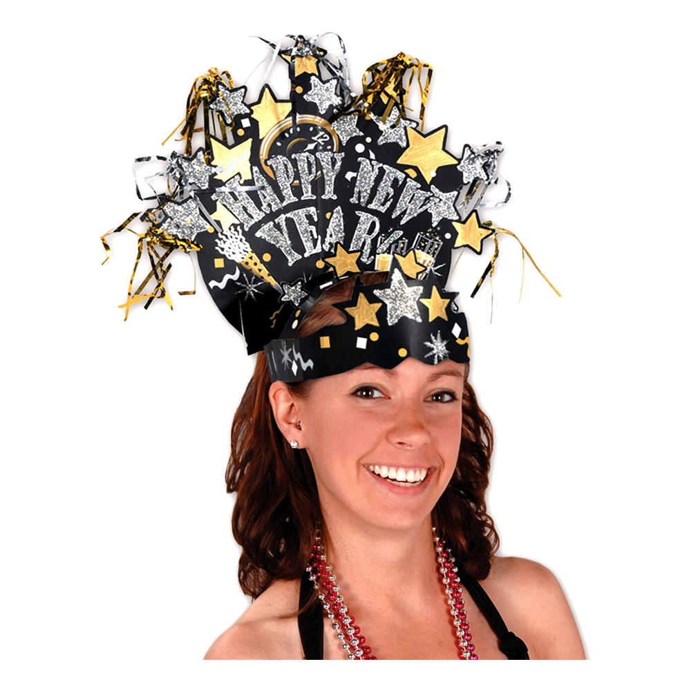 Diadem Happy New Year med Tofsar - One size
