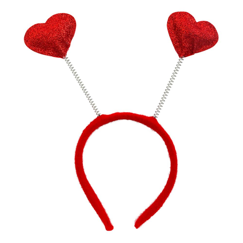 Diadem med Hjärtan Röd - One size