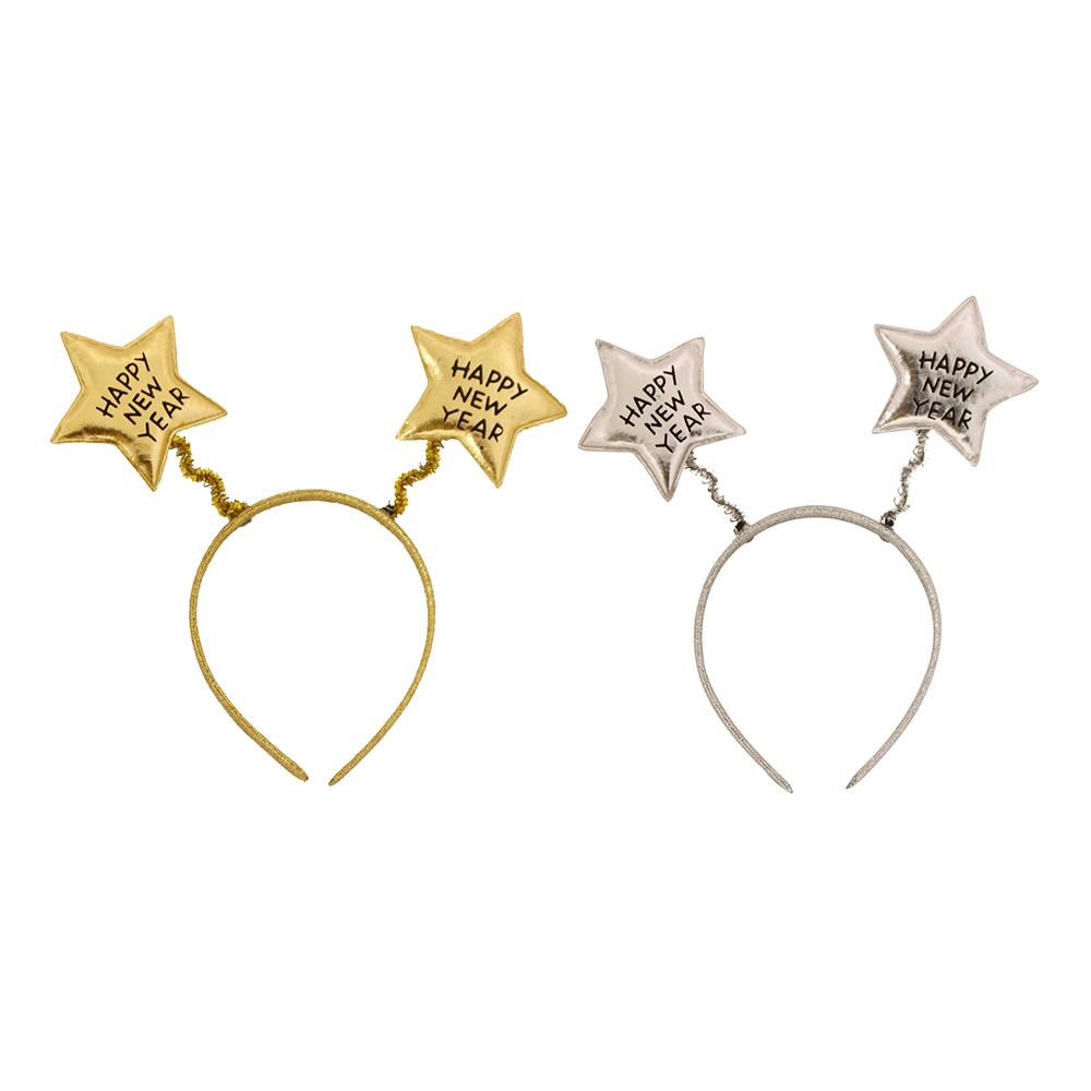 Diadem med Stjärnor Happy New Year Silver/Guld
