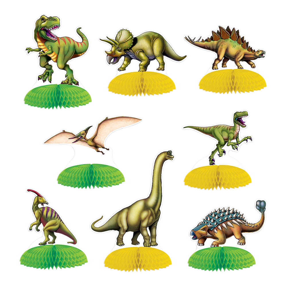 Dinosaurie - Dinosaurier Mini Bordsdekorationer - 8-pack