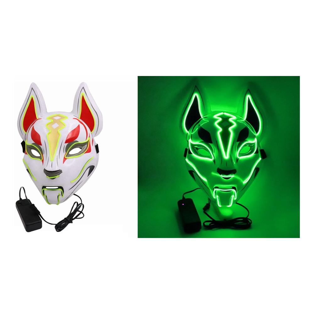 EL Wire Räv LED Mask - Ljusgrön