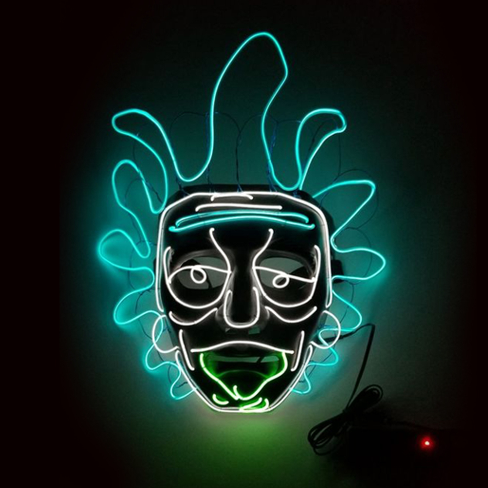El Wire Rick & Morty LED Mask - One Size