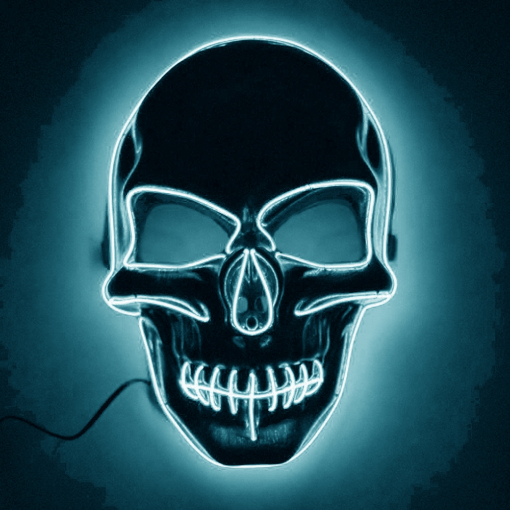 El Wire Skull LED Mask - Turkos