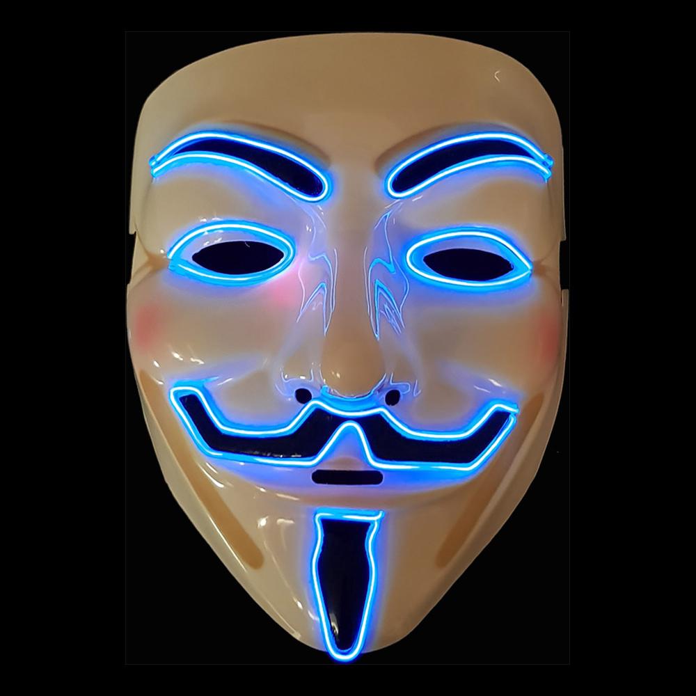 EL Wire V For Vendetta LED Mask - One size