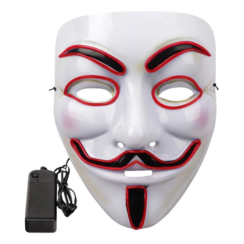 EL Wire V For Vendetta LED Mask - Vit