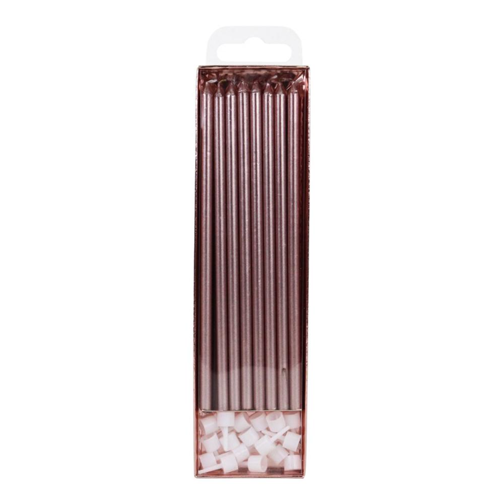 Extra Långa Tårtljus Roséguld - 16-pack