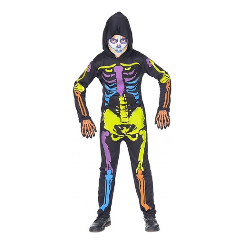 Färgglad Skelett Barn Maskeraddräkt - Large