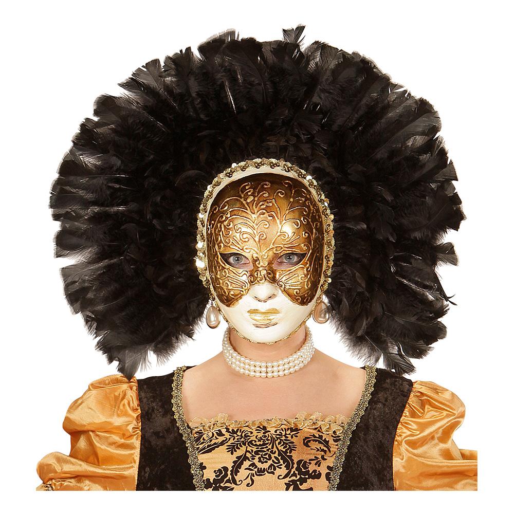 Fidelio Mask med Svarta Fjädrar - One size