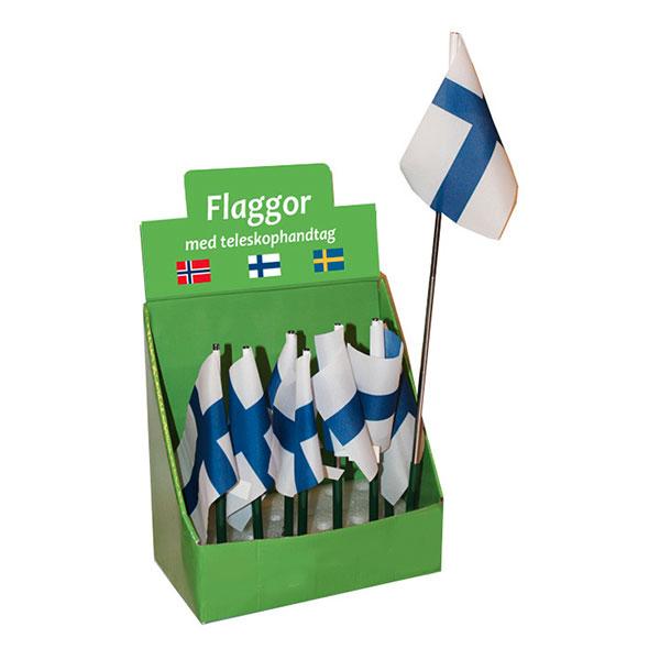 Finsk Flagga med Teleskophandtag