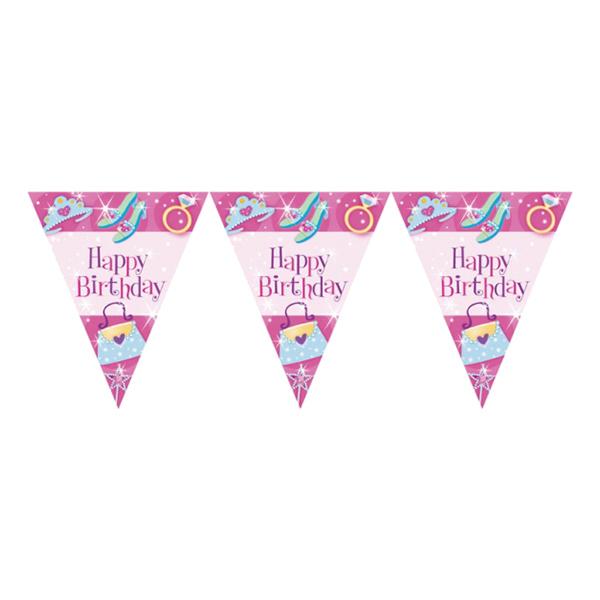 Flaggirlang Happy Birthday Prinsesskalas