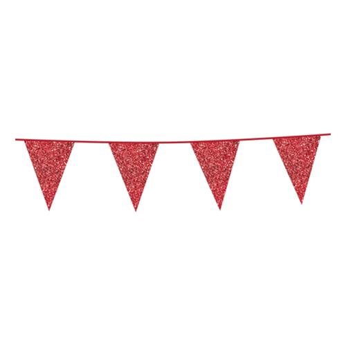 Flaggirlang Röd Glitter - 600 cm