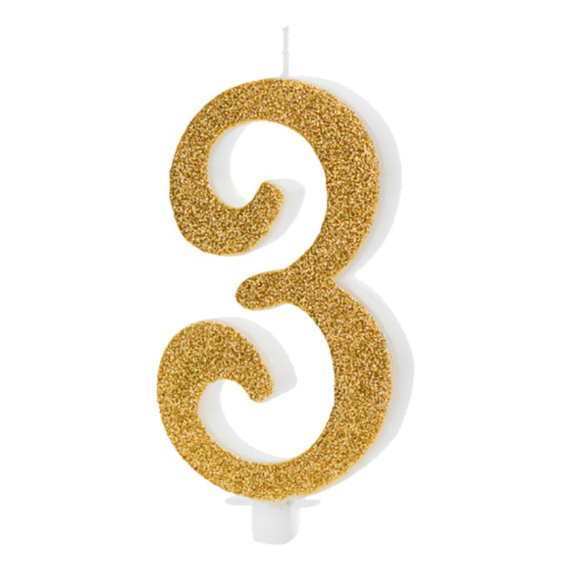 Födelsedagsljus Siffra Guld - 3 år