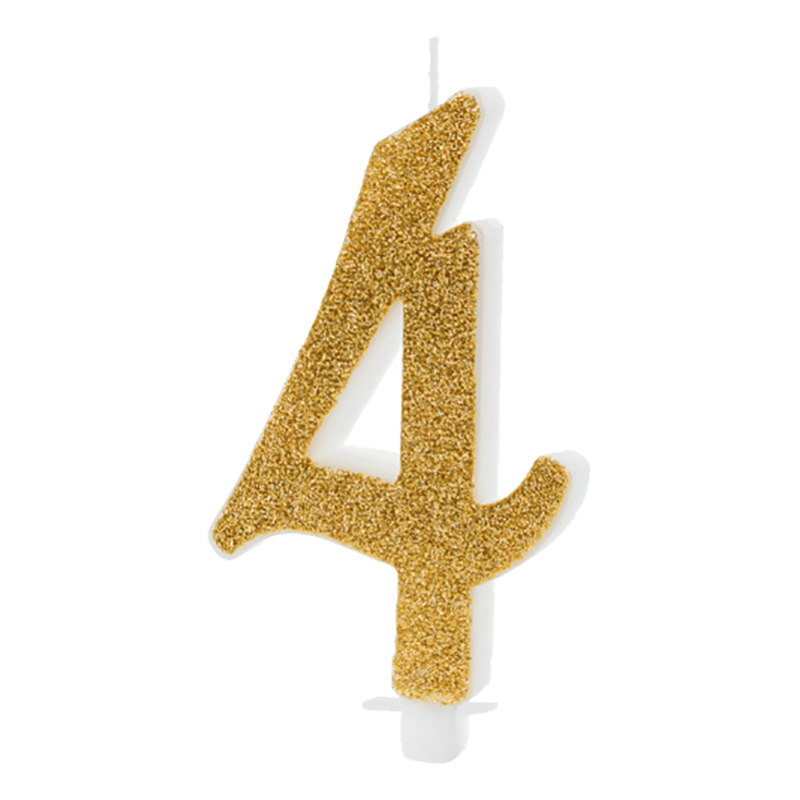 Födelsedagsljus Siffra Guld - 4 år