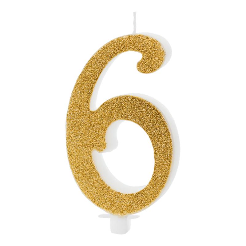 Födelsedagsljus Siffra Guld - 6 år