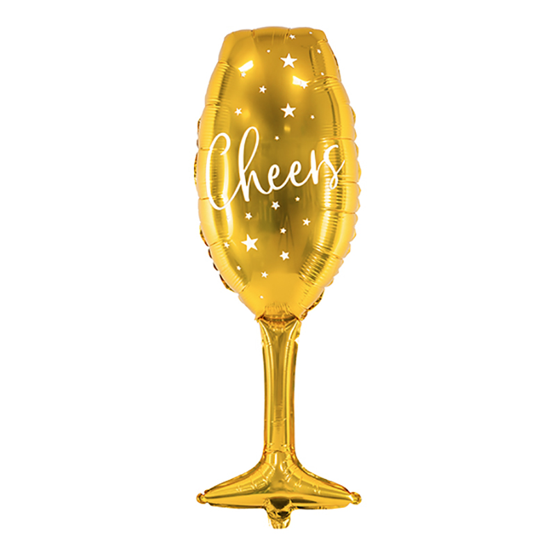 Folieballong Cheers Champagneglas Guld - 1-pack