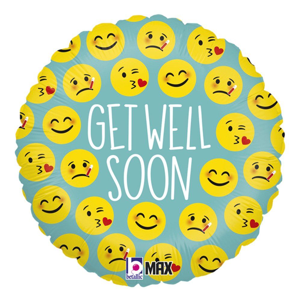 Folieballong Emoji Get Well Soon - 45 cm