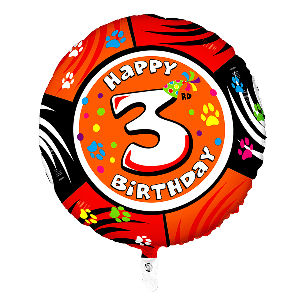 Folieballong Happy Birthday - Siffra 3