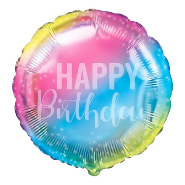 Folieballong Happy Birthday Pastell