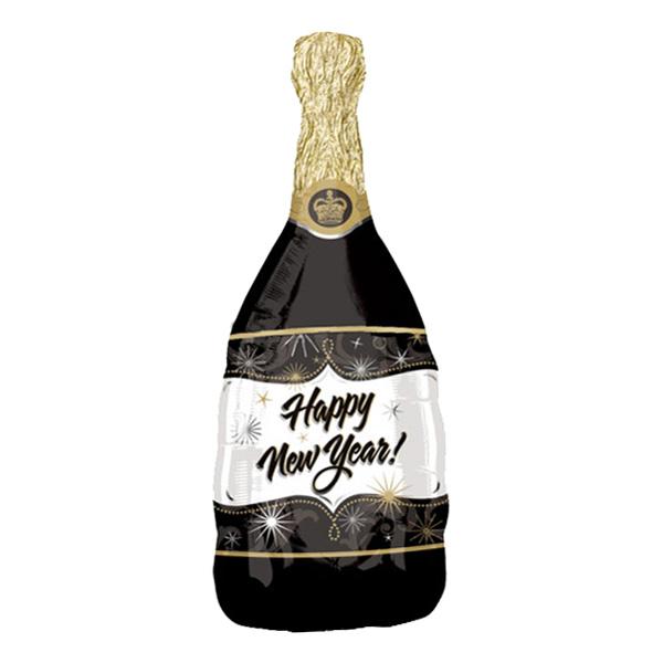 Folieballong Happy New Year! Champagneflaska
