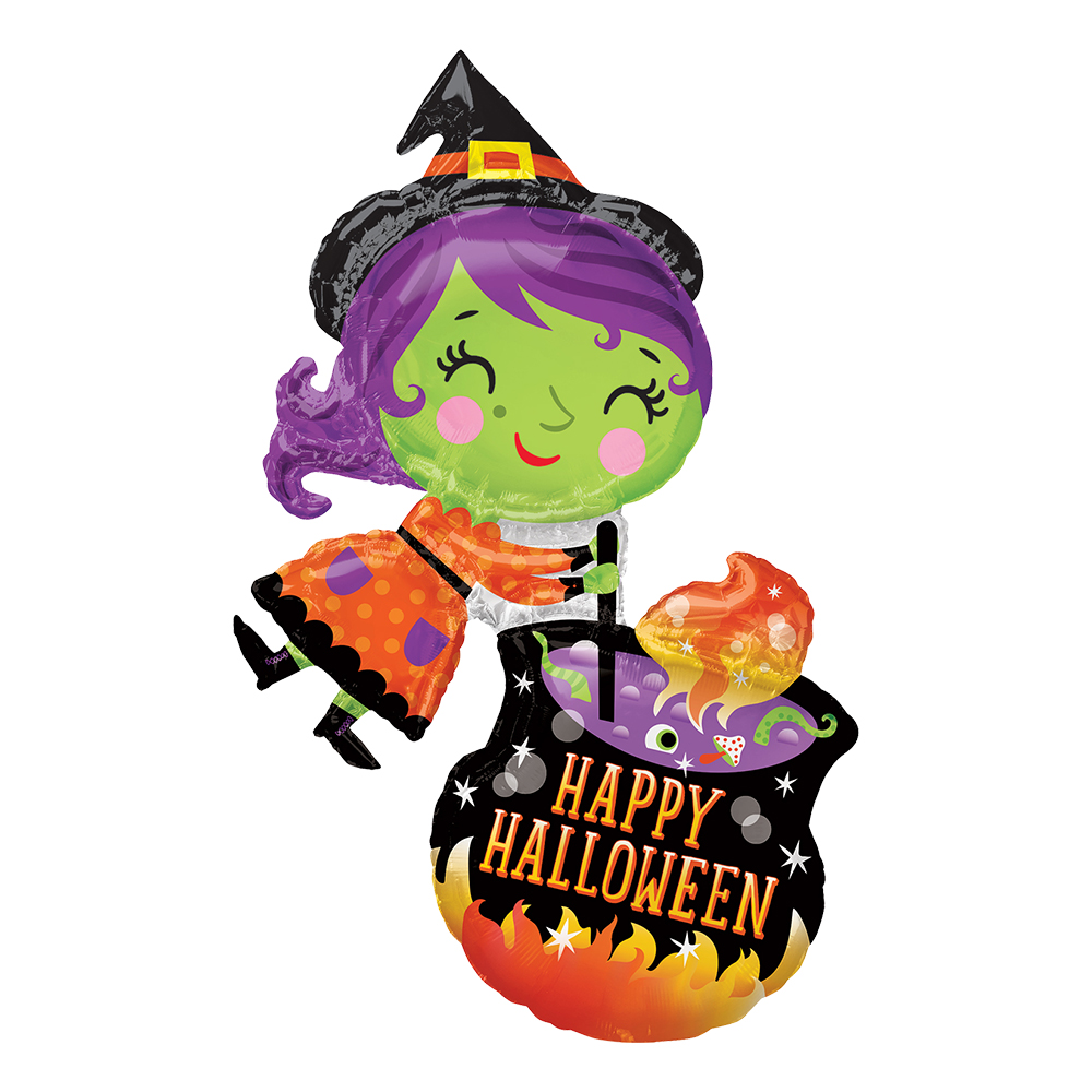 Folieballong Häxa med Kittel Happy Halloween - 1-pack