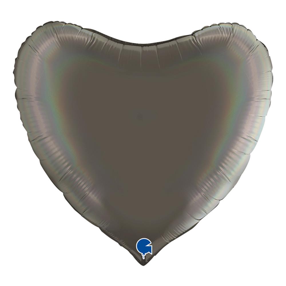 Folieballong Hjärta Regnbågsskiftande Platinagrå - 91 cm