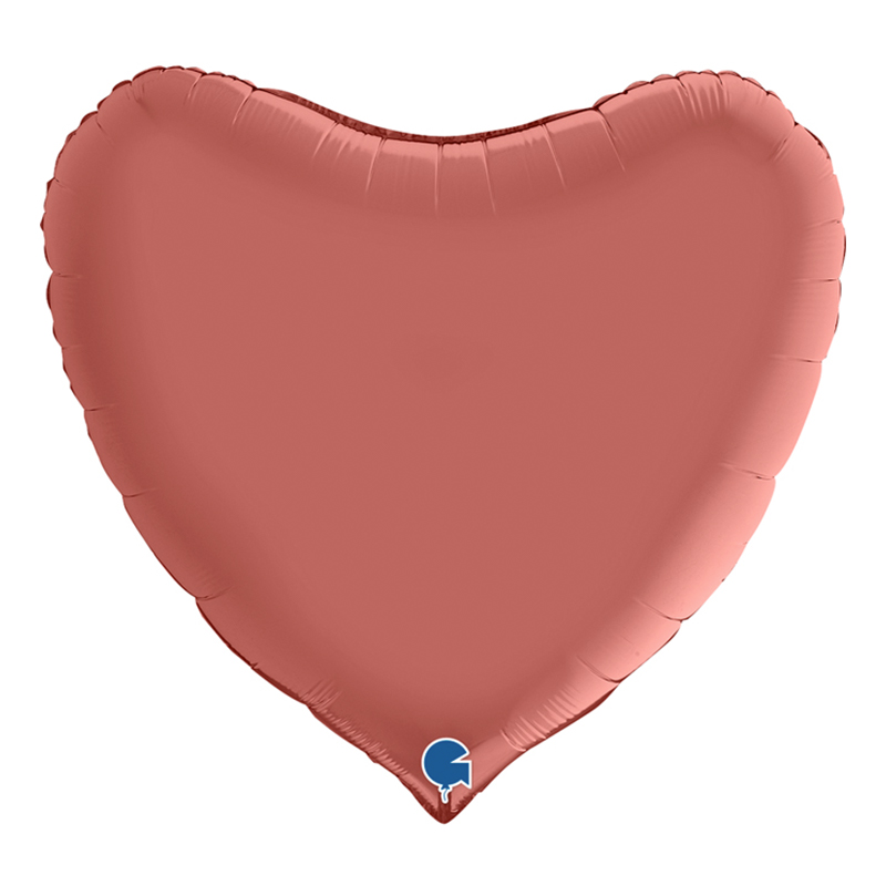 Folieballong Hjärta Satin Roséguld - 91 cm