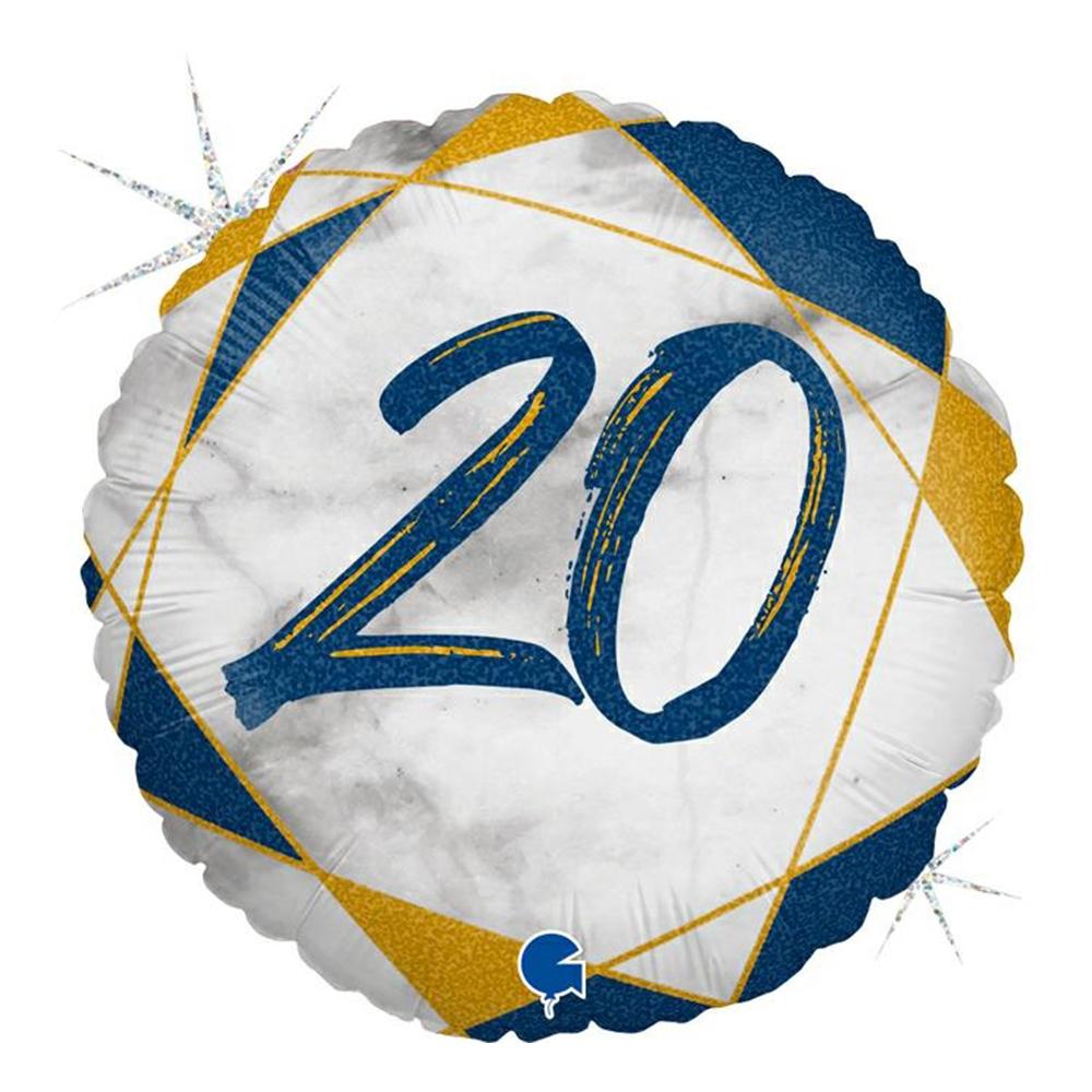 Folieballong Marble Mate 20 Blå - 1-pack