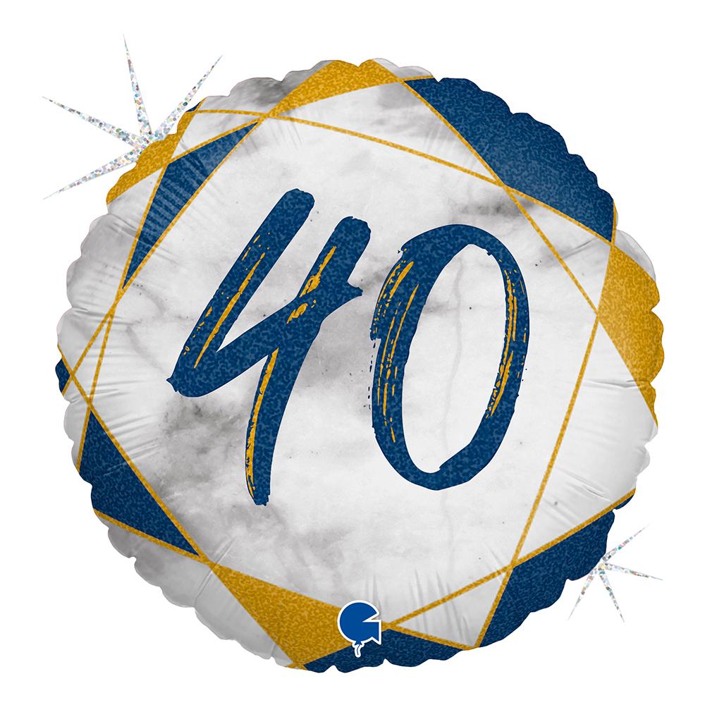 Folieballong Marble Mate 40 Blå - 1-pack
