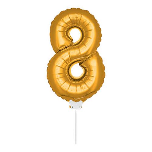 Folieballong på Pinne Guld - Siffra 8