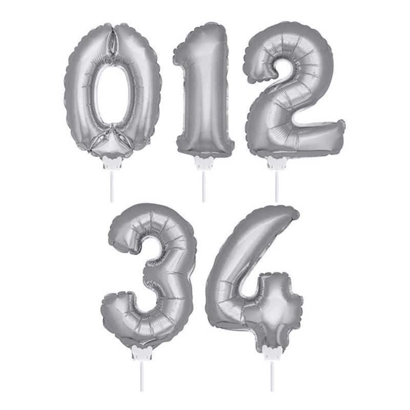 Folieballong på Pinne Silver - Siffra 0