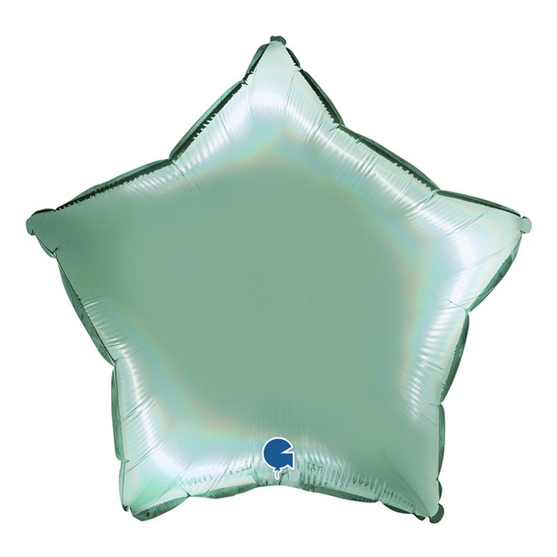 Folieballong Stjärna Holografisk Tiffany - 45 cm