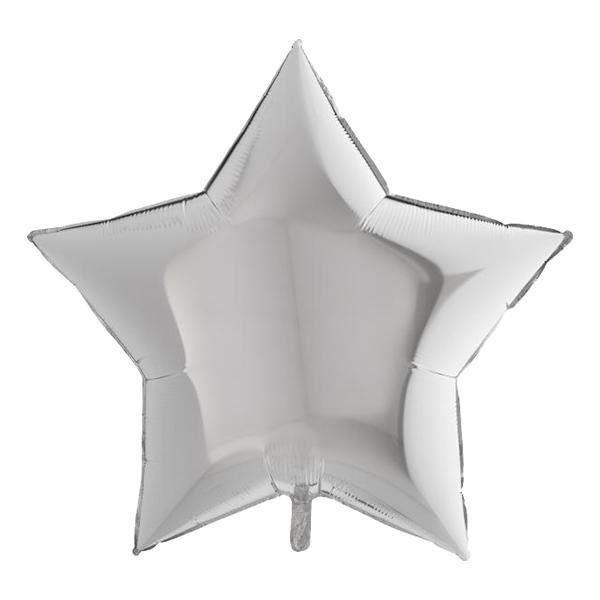 Folieballong Stjärna Stor Silver