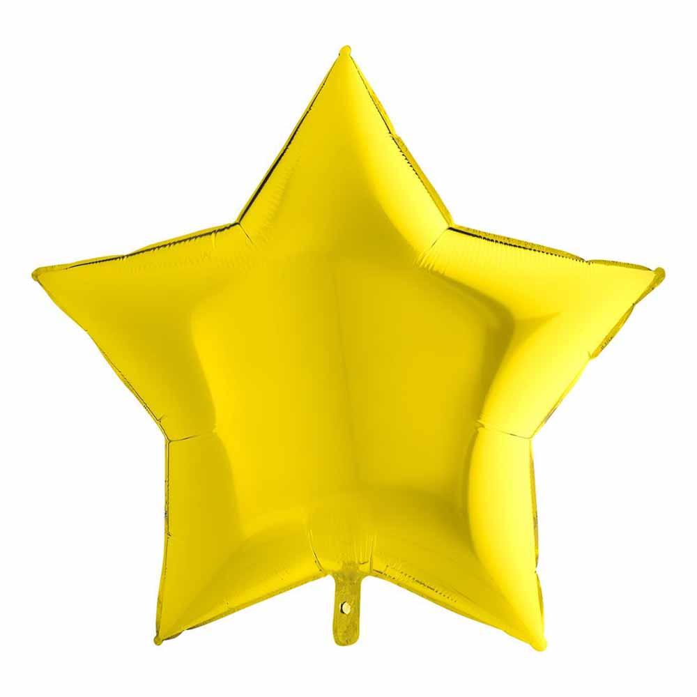 Folieballong Stor Stjärna Metallic Gul - 91 cm
