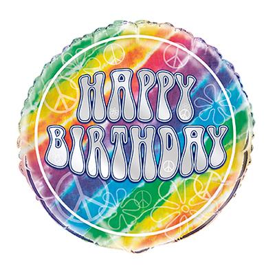 Folieballong Tie Dye Happy Birthday