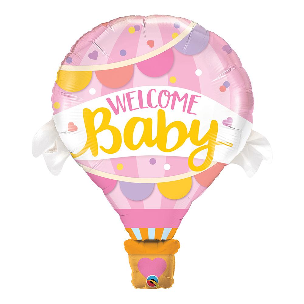 Folieballong Welcome Baby Rosa
