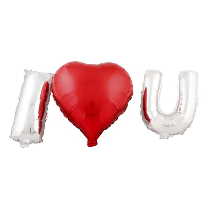 Folieballonger I Love U Röd/Silver - 3-pack