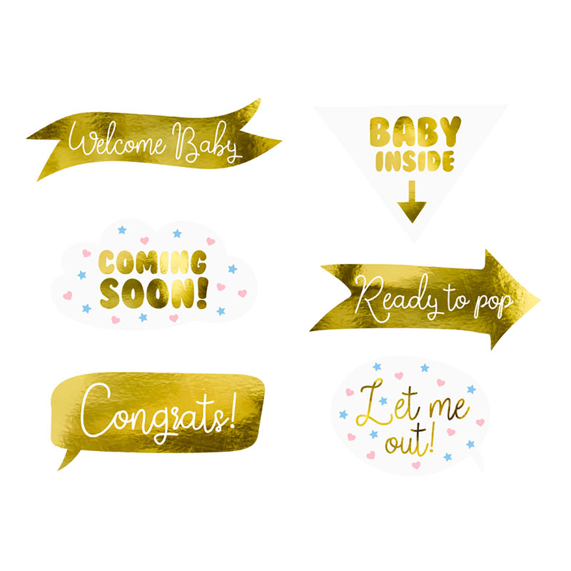 Foto Props Baby Shower Guld Metallic - 6-pack