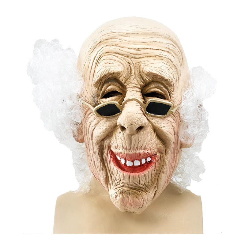 Gammal Man Mask med Hår